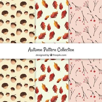 Pacote artístico de padrões de outono de aquarela