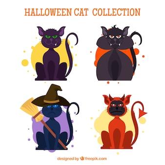 Pacote assustador de gatos de halloween