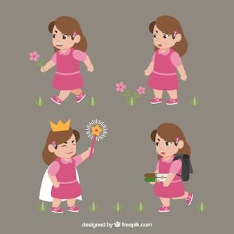 Pacote bonito da menina com vestido rosa
