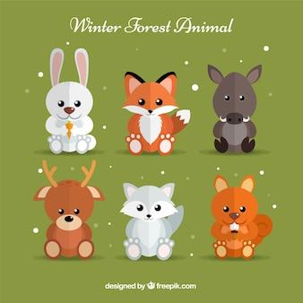 Pacote bonito de animais de inverno