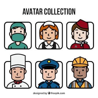 Pacote bonito de avatares com diferentes profissões