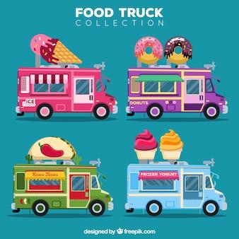 Pacote bonito de caminhões de alimentos coloridos
