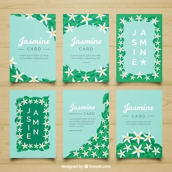 Pacote bonito de cartões de jasmim
