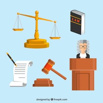 Pacote bonito de elementos de lei e justiça