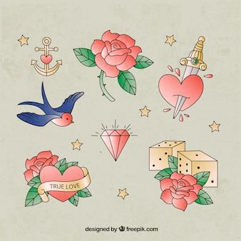 Pacote bonito de tatuagens românticas