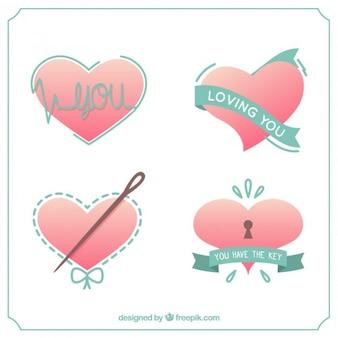 Pacote bonito dos corações do amor