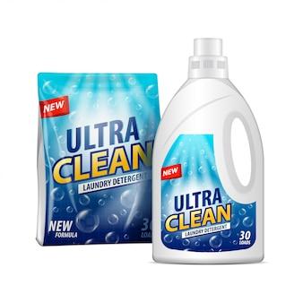 Pacote branco e garrafa com etiqueta. modelo de pacote de detergente para a roupa. ilustração do pacote químico