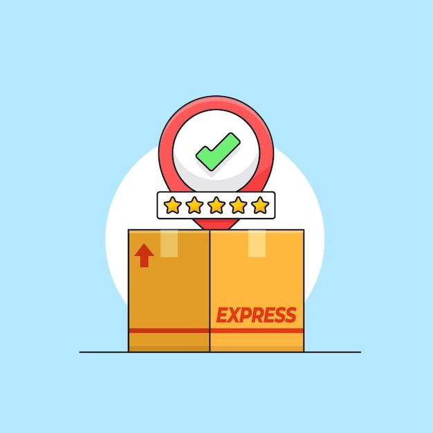 Pacote caixa de papelão sucesso entregue cinco estrelas classificação bom serviço de frete ilustração vetorial
