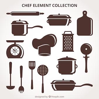 Pacote, chef, elementos, retro, estilo