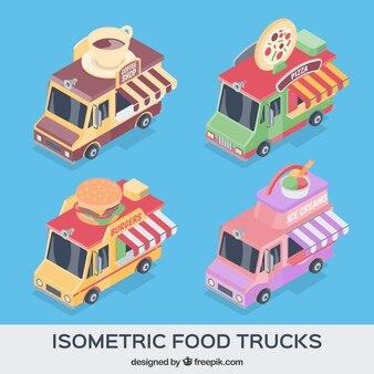 Pacote clássico de caminhões de alimentos isométricos