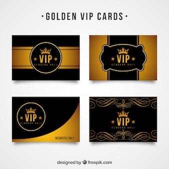 Pacote clássico de cartões vip dourados