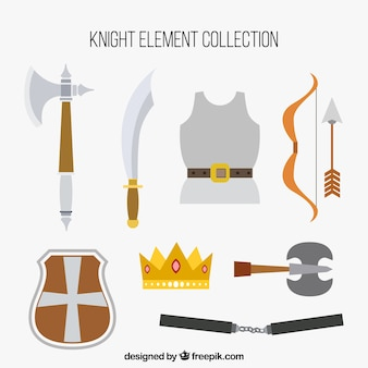 Pacote clássico de elementos do cavaleiro plano