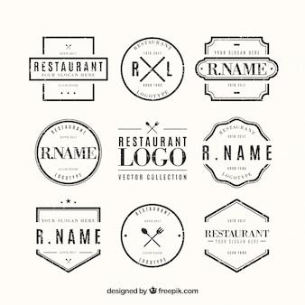 Pacote clássico de logotipos de restaurantes vintage