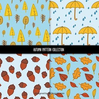 Pacote clássico de padrões de outono desenhados à mão