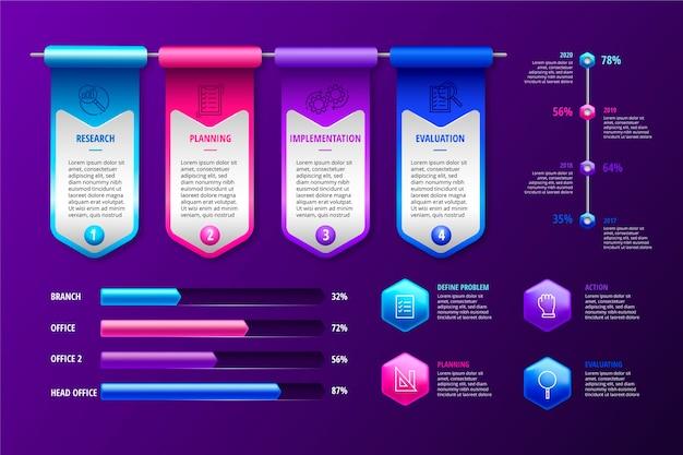 Pacote colorido brilhante infográfico