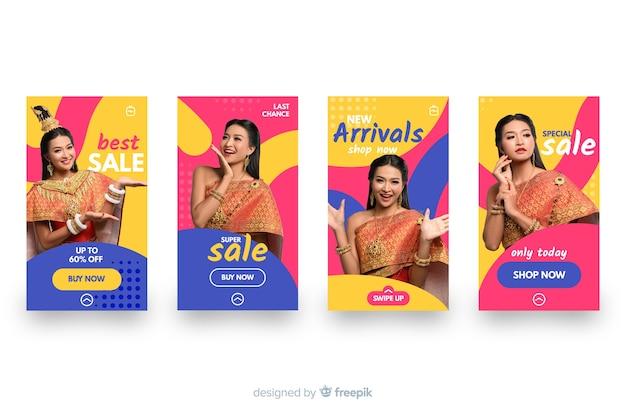 Pacote colorido colorido de histórias do instagram de venda