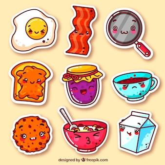 Pacote colorido de adesivos de comida engraçada