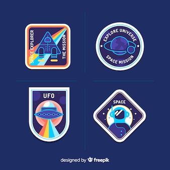 Pacote colorido de adesivos modernos de espaço