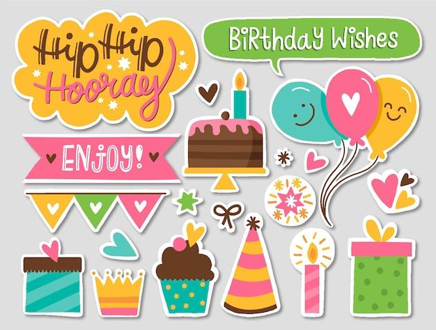 Pacote colorido de álbum de recortes de aniversário
