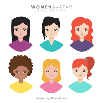 Pacote colorido de avatares de jovens mulheres
