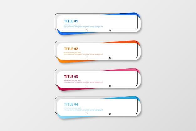 Pacote colorido de banner de infográfico moderno