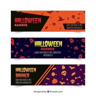 Pacote colorido de banners de halloween