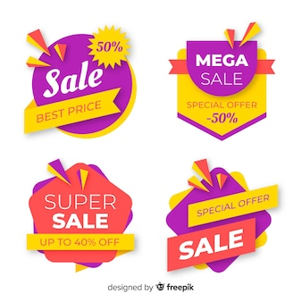Pacote colorido de banners de venda abstrata