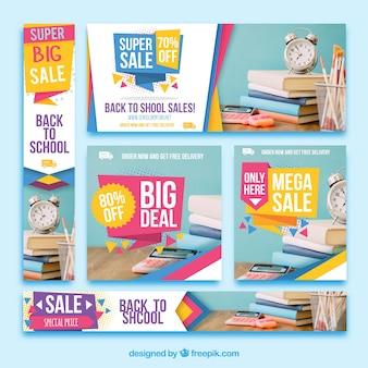 Pacote colorido de banners de venda