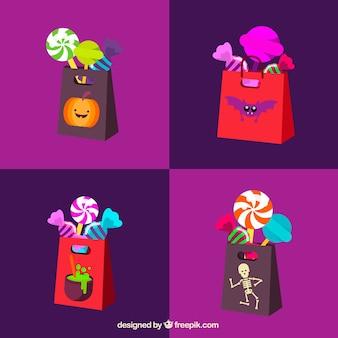 Pacote colorido de bolsas de doces de halloween