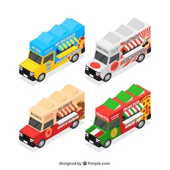 Pacote colorido de caminhões de alimentos isométricos