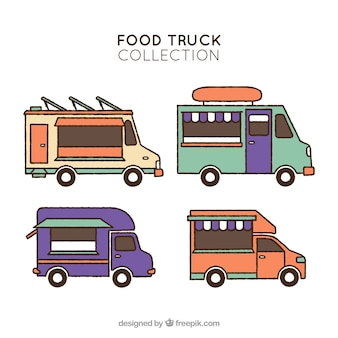 Pacote colorido de caminhões de comida desenhados à mão