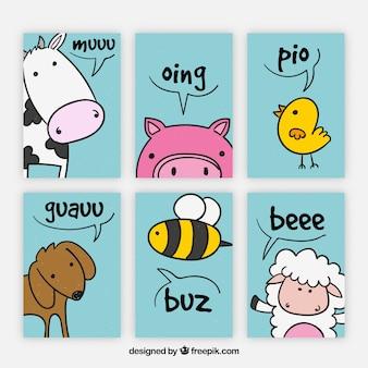 Pacote colorido de cartões com animais divertidos