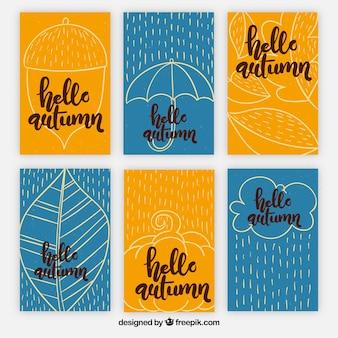 Pacote colorido de cartões de outono