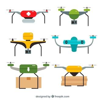 Pacote colorido de drones adoráveis