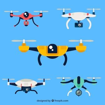 Pacote colorido de drones modernos