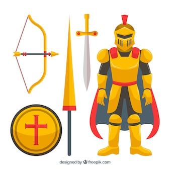 Pacote colorido de elementos do cavaleiro