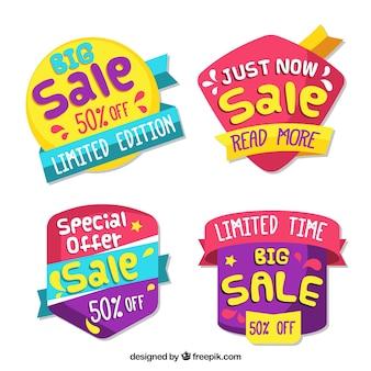 Pacote colorido de emblemas de venda