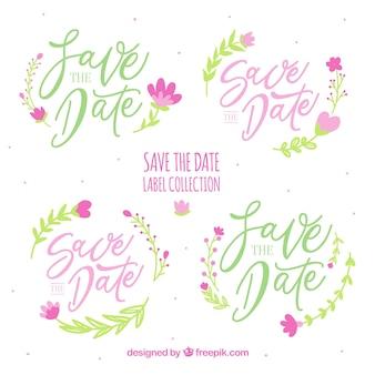 Pacote colorido de etiquetas de casamento com flores