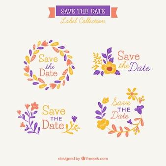 Pacote colorido de etiquetas de casamento florais