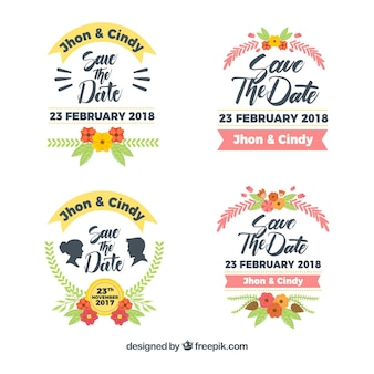 Pacote colorido de etiquetas de casamento planas