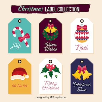 Pacote colorido de etiquetas de natal
