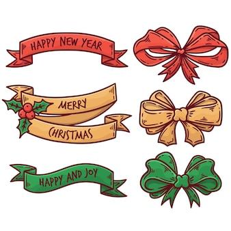 Pacote colorido de fitas de natal
