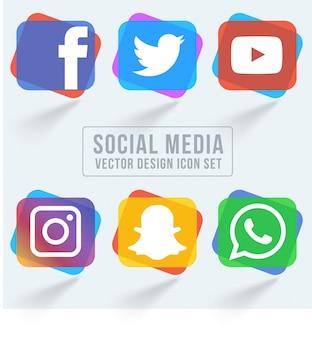 Pacote colorido de ícones de mídias sociais