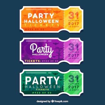 Pacote colorido de ingressos flat halloween