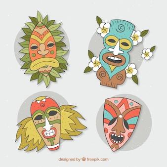 Pacote colorido de máscaras tiki desenhadas a mão