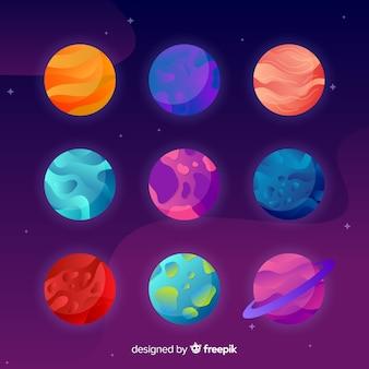Pacote colorido de planetas planas
