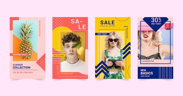 Pacote colorido de postagem do instagram de venda