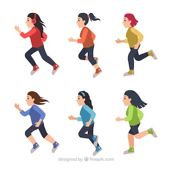 Pacote colorido de seis mulheres correndo