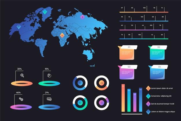 Pacote colorido infográfico gradiente
