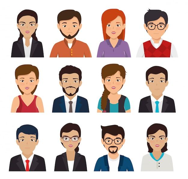 Pacote com conjunto de pessoas de negócios de rosto